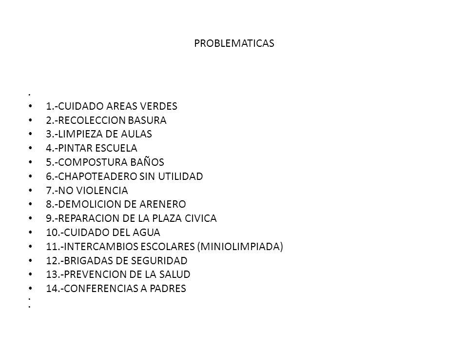 6.-CHAPOTEADERO SIN UTILIDAD 7.-NO VIOLENCIA 8.-DEMOLICION DE ARENERO