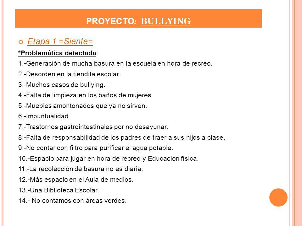 PROYECTO: BULLYING Etapa 1 =Siente= *Problemática detectada: