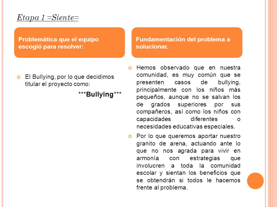 Etapa 1 =Siente= ***Bullying***