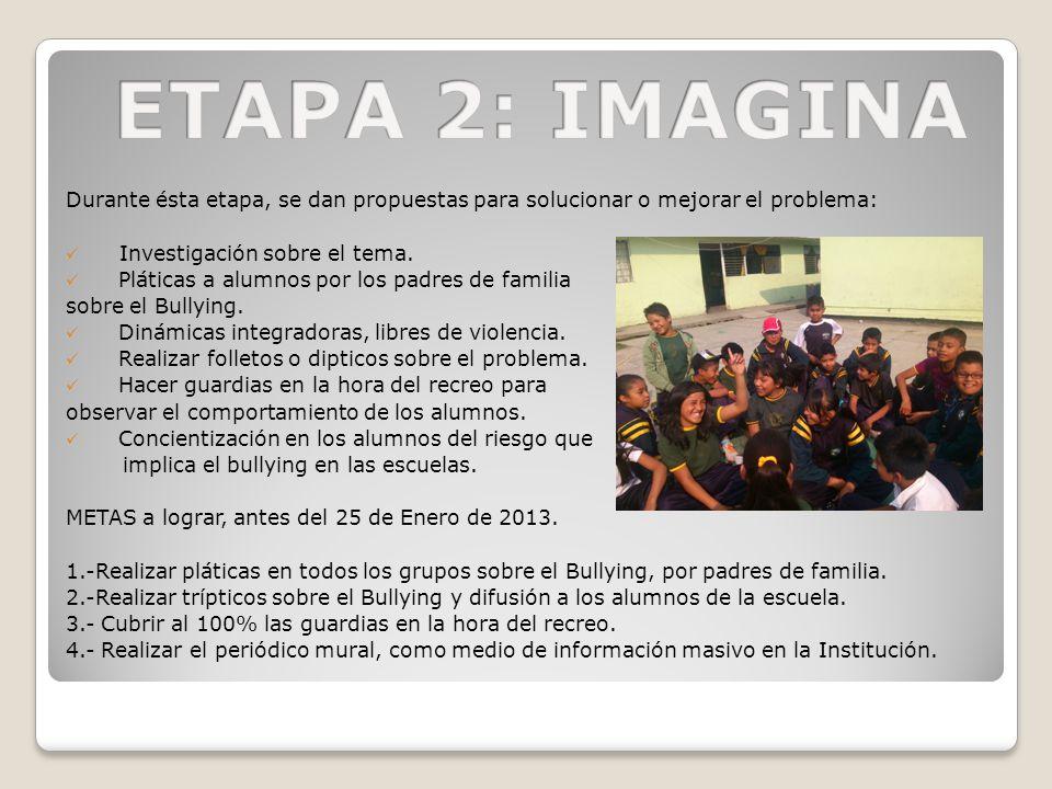 ETAPA 2: IMAGINA Durante ésta etapa, se dan propuestas para solucionar o mejorar el problema: Investigación sobre el tema.