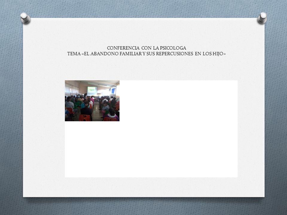 CONFERENCIA CON LA PSICOLOGA TEMA «EL ABANDONO FAMILIAR Y SUS REPERCUSIONES EN LOS HIJO»