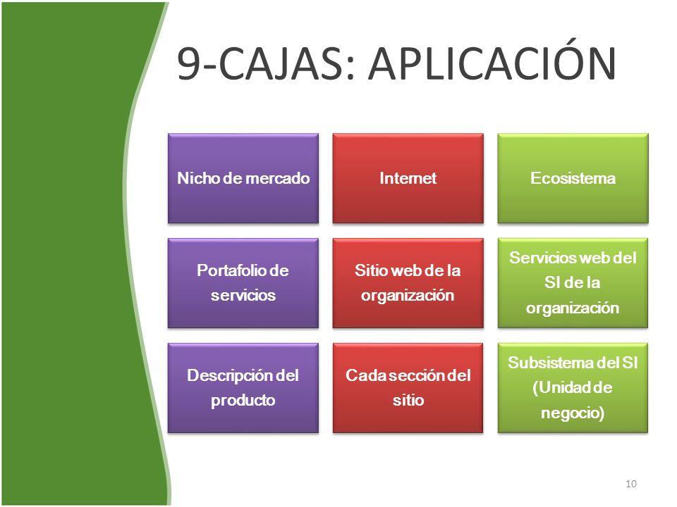 9-CAJAS: APLICACIÓN Nicho de mercado Internet Ecosistema