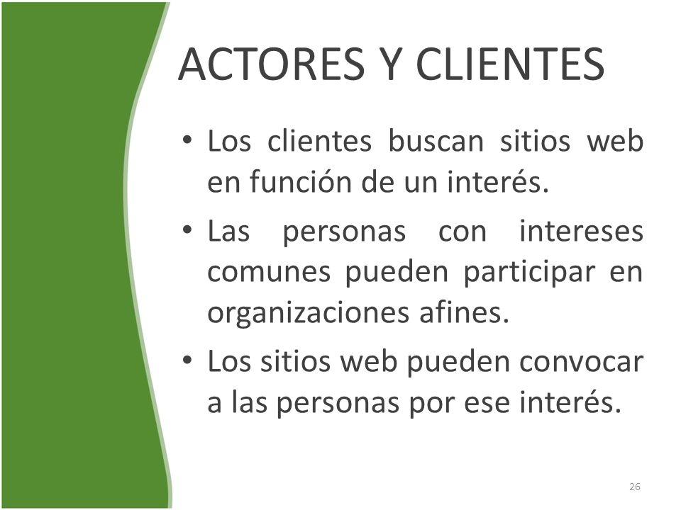 ACTORES Y CLIENTES Los clientes buscan sitios web en función de un interés.