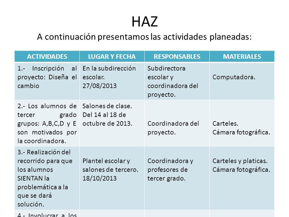 HAZ A continuación presentamos las actividades planeadas: