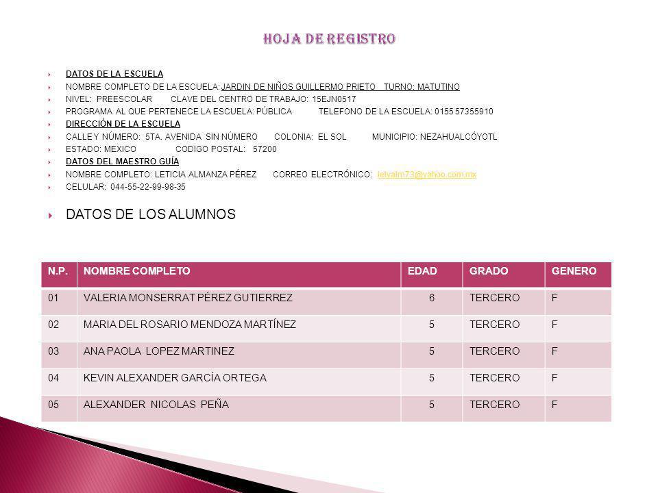 HOJA DE REGISTRO DATOS DE LOS ALUMNOS N.P. NOMBRE COMPLETO EDAD GRADO