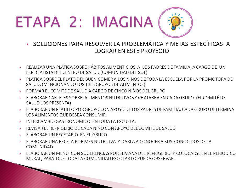 ETAPA 2: IMAGINA SOLUCIONES PARA RESOLVER LA PROBLEMÁTICA Y METAS ESPECÍFICAS A LOGRAR EN ESTE PROYECTO.
