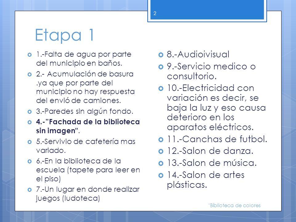 Etapa 1 8.-Audioivisual 9.-Servicio medico o consultorio.