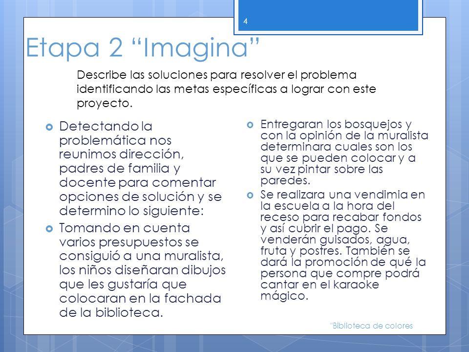 Etapa 2 Imagina Describe las soluciones para resolver el problema identificando las metas específicas a lograr con este proyecto.