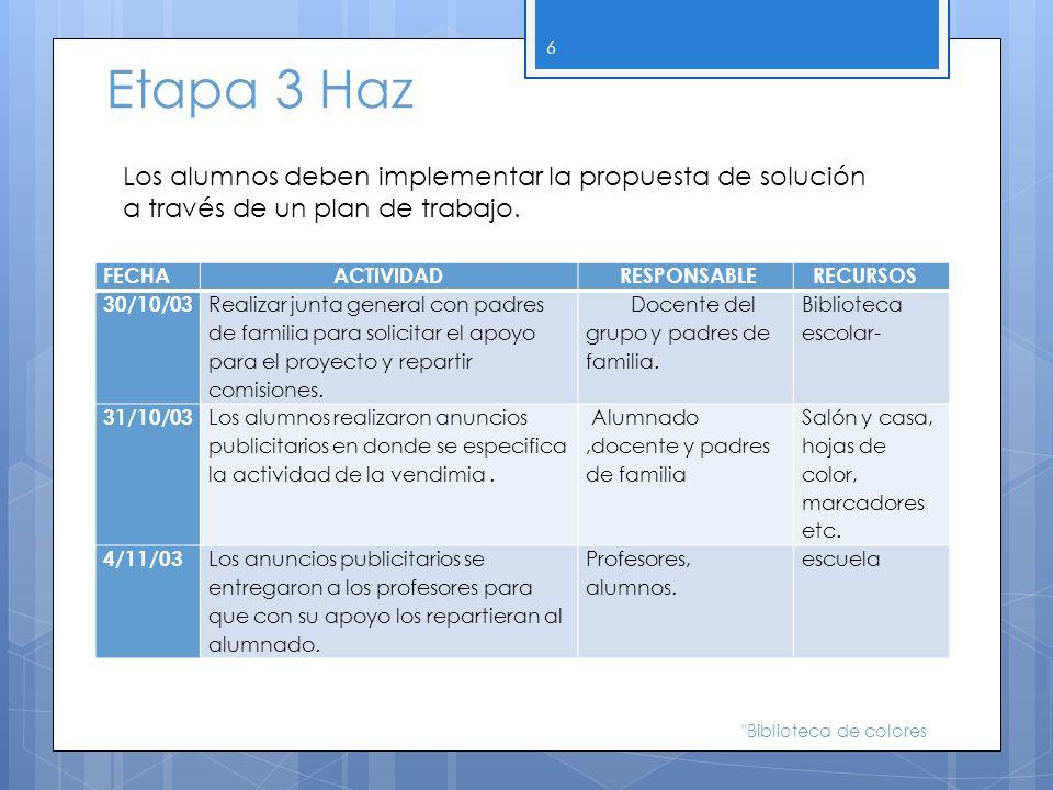 Etapa 3 Haz Los alumnos deben implementar la propuesta de solución a través de un plan de trabajo. FECHA.