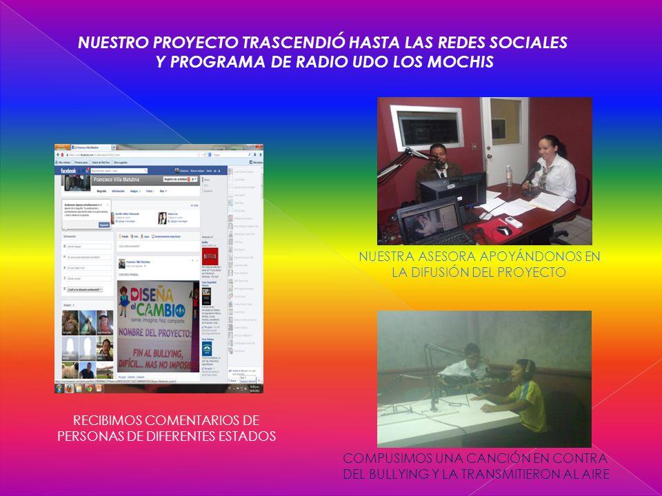 NUESTRO PROYECTO TRASCENDIÓ HASTA LAS REDES SOCIALES