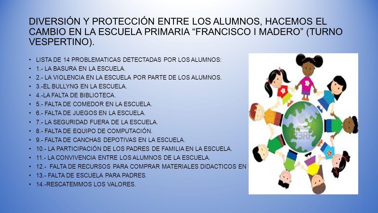DIVERSIÓN Y PROTECCIÓN ENTRE LOS ALUMNOS, HACEMOS EL CAMBIO EN LA ESCUELA PRIMARIA FRANCISCO I MADERO (TURNO VESPERTINO).