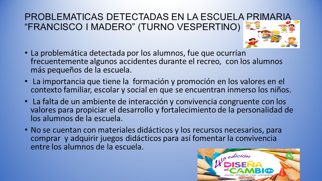 PROBLEMATICAS DETECTADAS EN LA ESCUELA PRIMARIA FRANCISCO I MADERO (TURNO VESPERTINO)