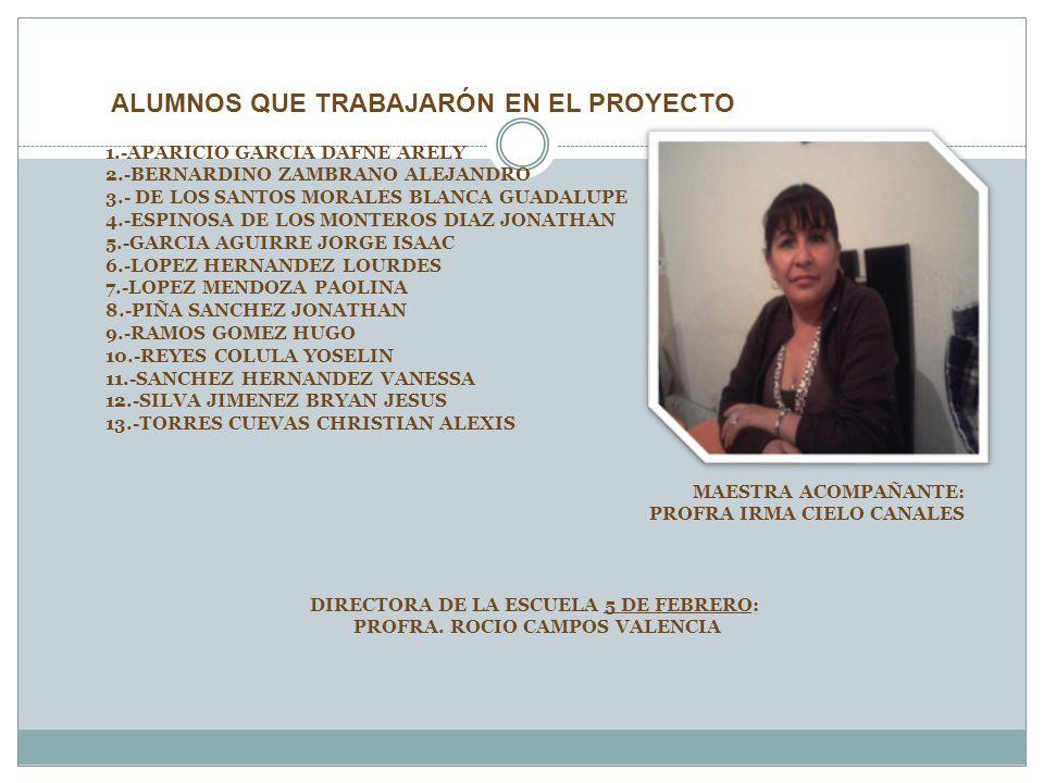 DIRECTORA DE LA ESCUELA 5 DE FEBRERO: PROFRA. ROCIO CAMPOS VALENCIA