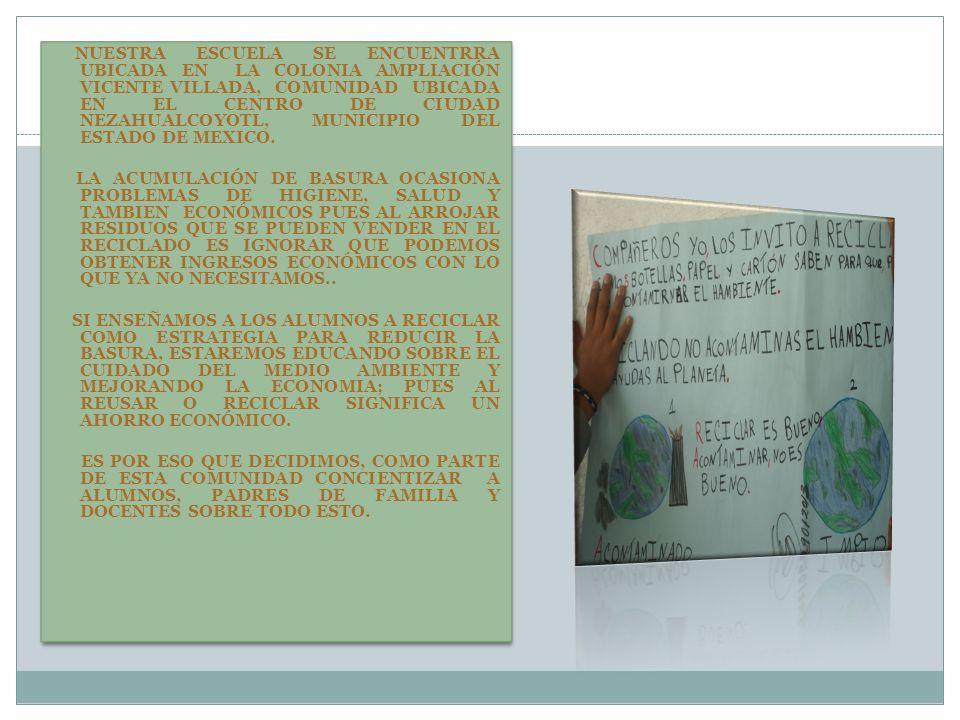 NUESTRA ESCUELA SE ENCUENTRRA UBICADA EN LA COLONIA AMPLIACIÓN VICENTE VILLADA, COMUNIDAD UBICADA EN EL CENTRO DE CIUDAD NEZAHUALCOYOTL, MUNICIPIO DEL ESTADO DE MEXICO.