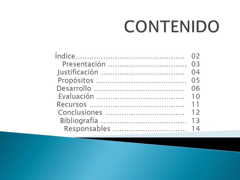 CONTENIDO Índice……………………………………….. 02 Presentación ……………………………. 03