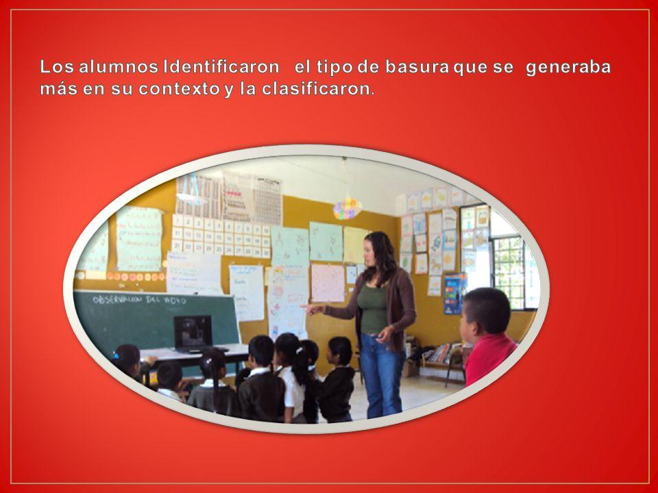 Los alumnos Identificaron el tipo de basura que se generaba más en su contexto y la clasificaron.