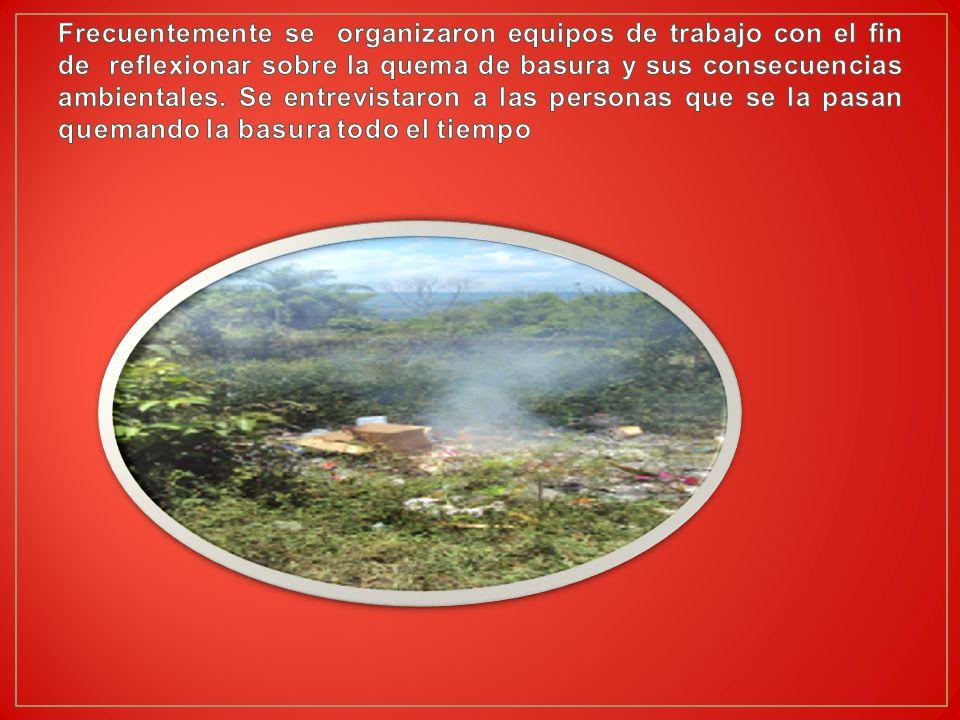 Frecuentemente se organizaron equipos de trabajo con el fin de reflexionar sobre la quema de basura y sus consecuencias ambientales.