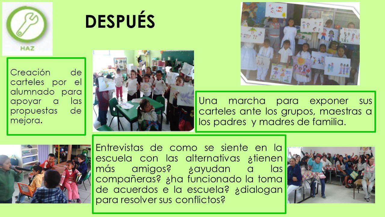 DESPUÉS Creación de carteles por el alumnado para apoyar a las propuestas de mejora.