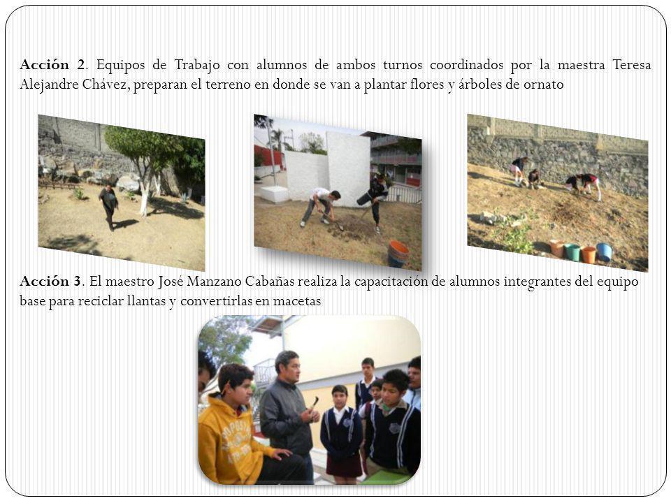 Acción 2. Equipos de Trabajo con alumnos de ambos turnos coordinados por la maestra Teresa Alejandre Chávez, preparan el terreno en donde se van a plantar flores y árboles de ornato