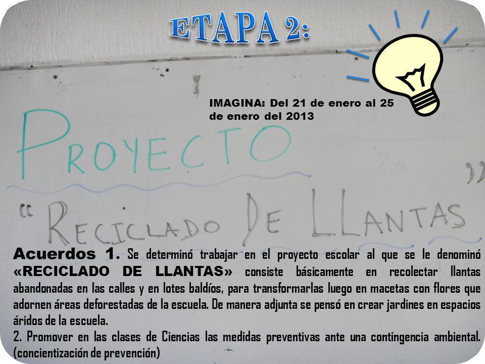 ETAPA 2: IMAGINA: Del 21 de enero al 25 de enero del 2013.