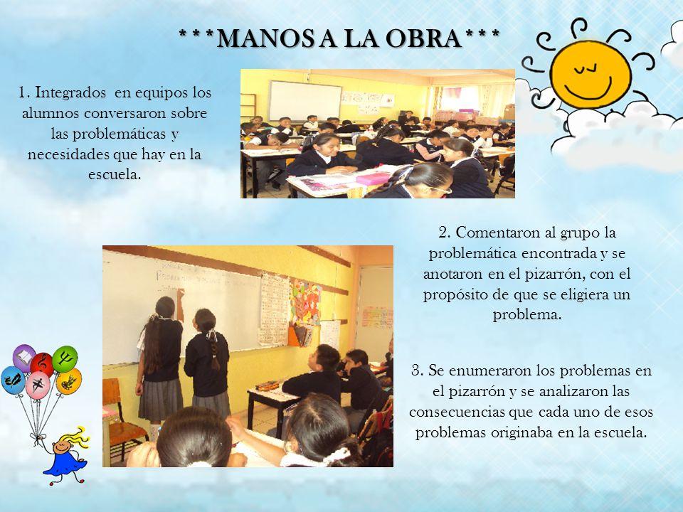 ***MANOS A LA OBRA*** 1. Integrados en equipos los alumnos conversaron sobre las problemáticas y necesidades que hay en la escuela.