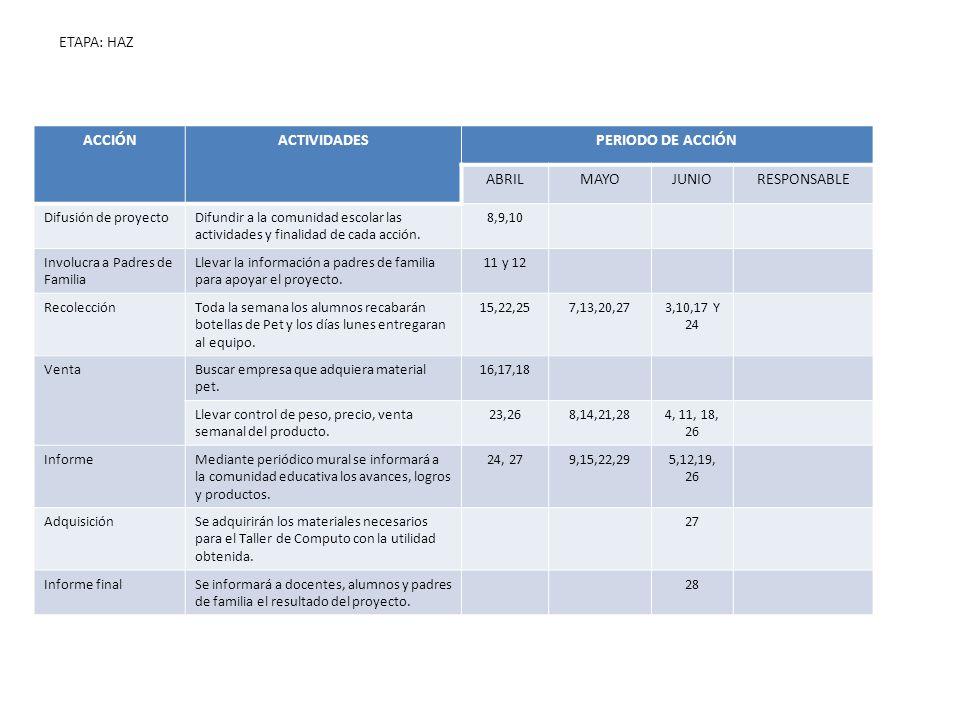 ACCIÓN ACTIVIDADES PERIODO DE ACCIÓN