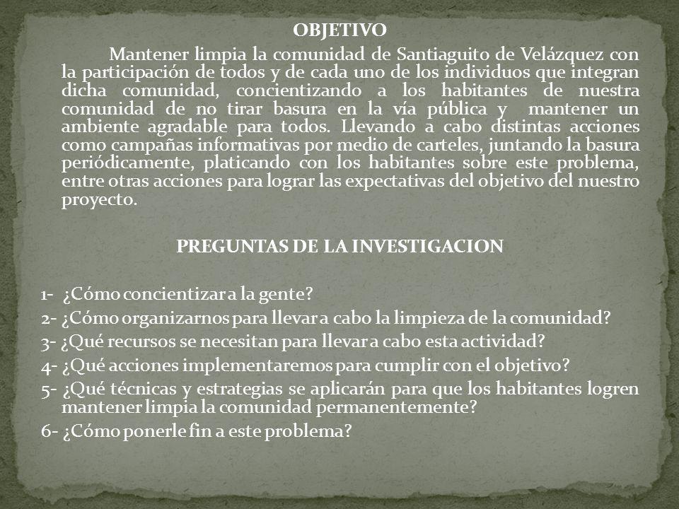 PREGUNTAS DE LA INVESTIGACION