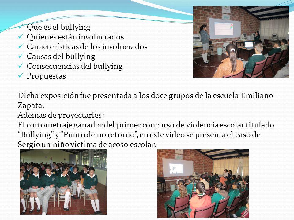 Que es el bullying Quienes están involucrados. Características de los involucrados. Causas del bullying.