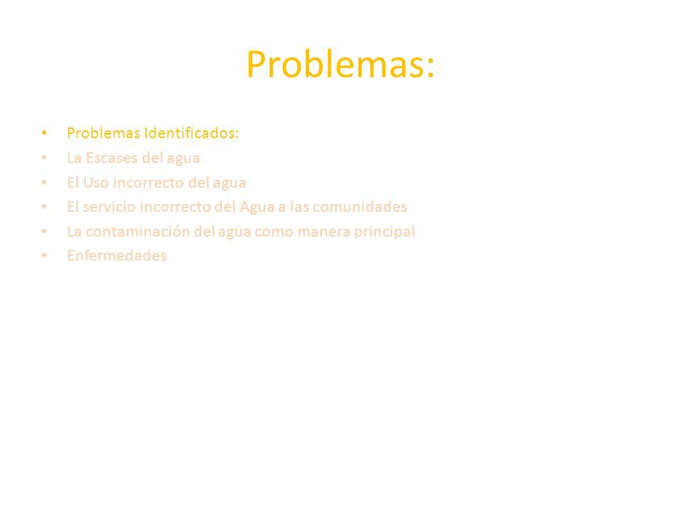 Problemas: Problemas Identificados: La Escases del agua