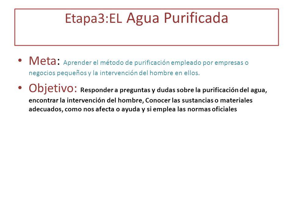 Etapa3:EL Agua Purificada