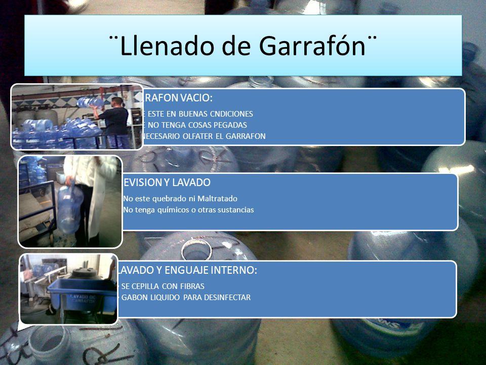 ¨Llenado de Garrafón¨ GARRAFON VACIO: REVISION Y LAVADO