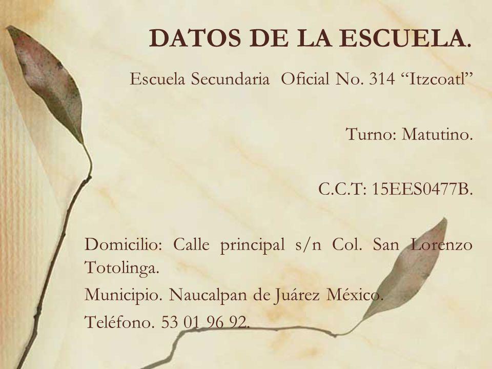 DATOS DE LA ESCUELA. Escuela Secundaria Oficial No. 314 Itzcoatl