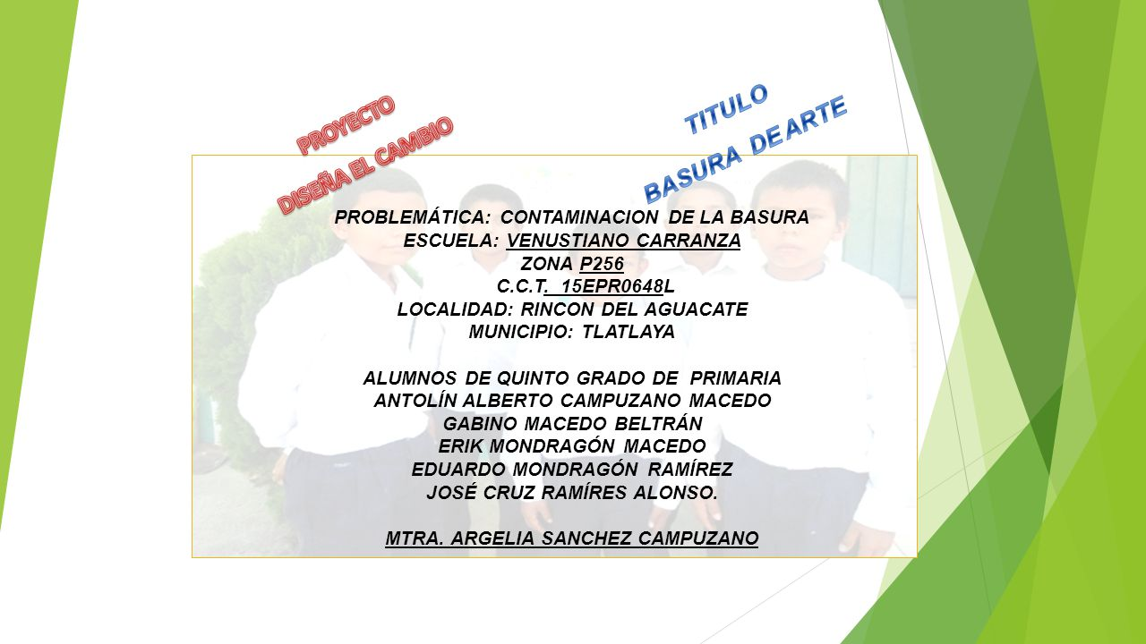 TITULO BASURA DE ARTE PROYECTO DISEÑA EL CAMBIO
