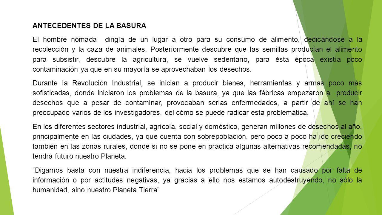 ANTECEDENTES DE LA BASURA