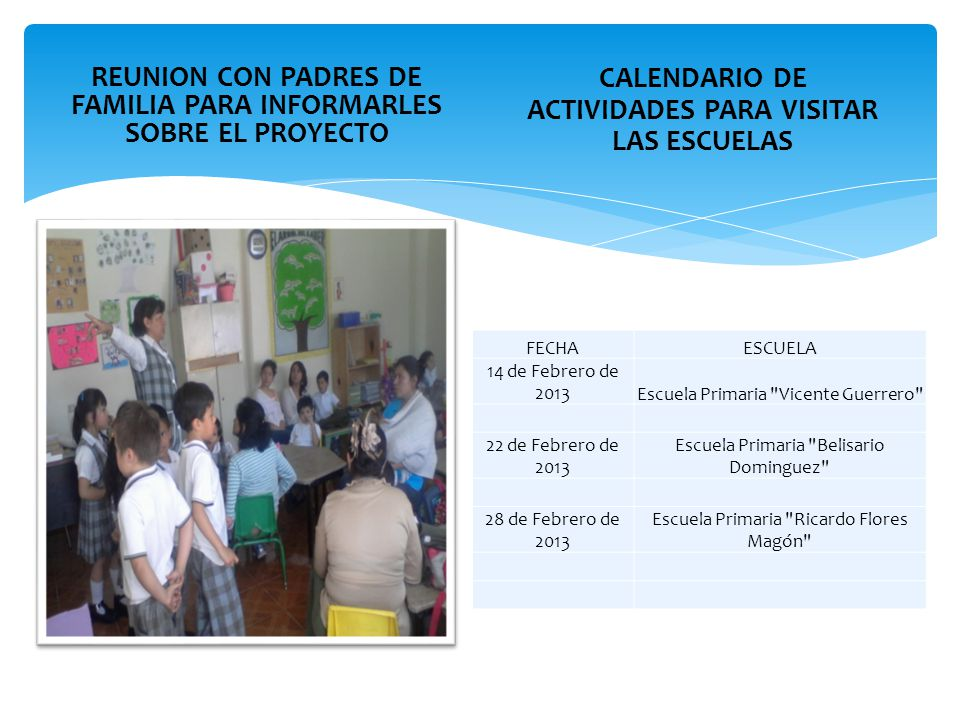 REUNION CON PADRES DE FAMILIA PARA INFORMARLES SOBRE EL PROYECTO