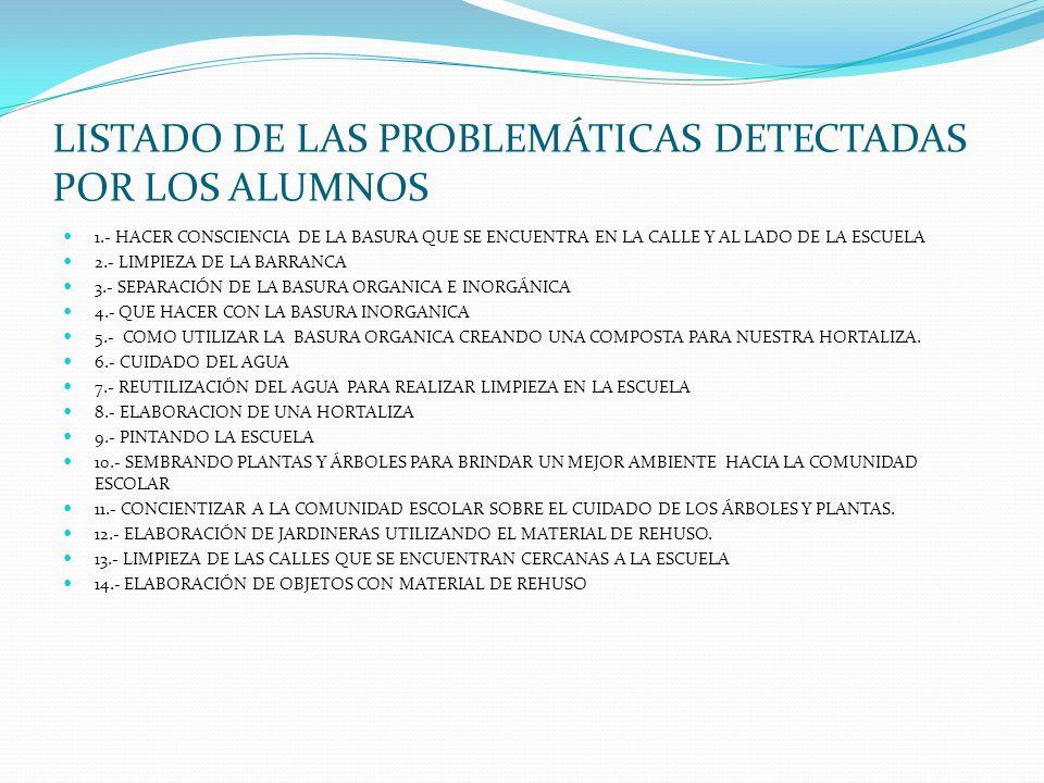 LISTADO DE LAS PROBLEMÁTICAS DETECTADAS POR LOS ALUMNOS