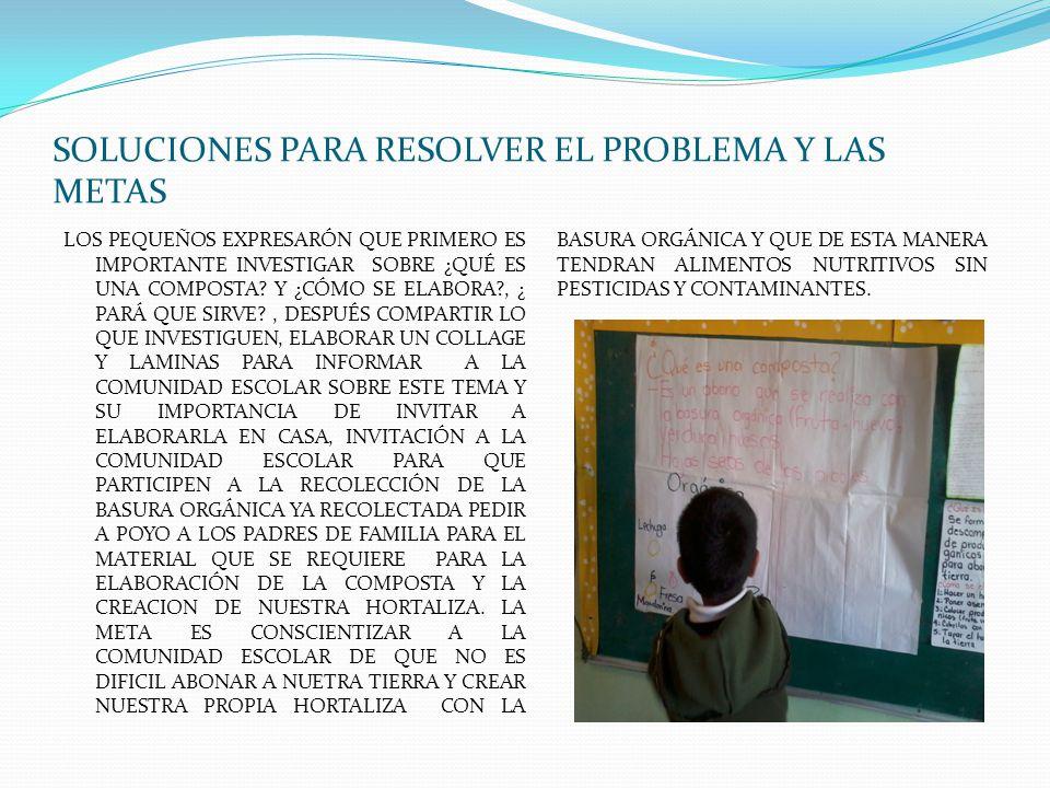 SOLUCIONES PARA RESOLVER EL PROBLEMA Y LAS METAS
