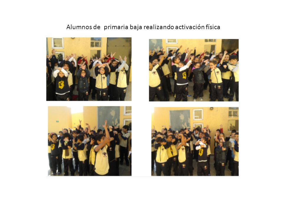 Alumnos de primaria baja realizando activación física