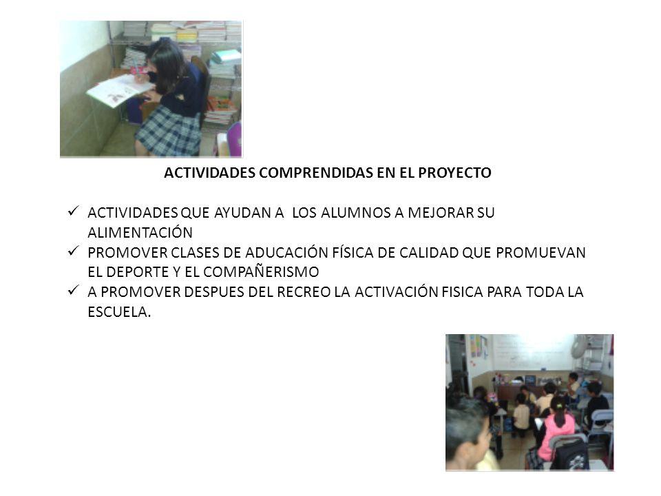 ACTIVIDADES COMPRENDIDAS EN EL PROYECTO