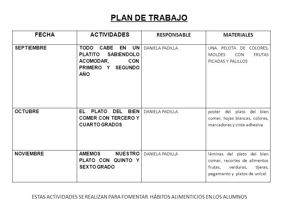PLAN DE TRABAJO FECHA ACTIVIDADES RESPONSABLE MATERIALES
