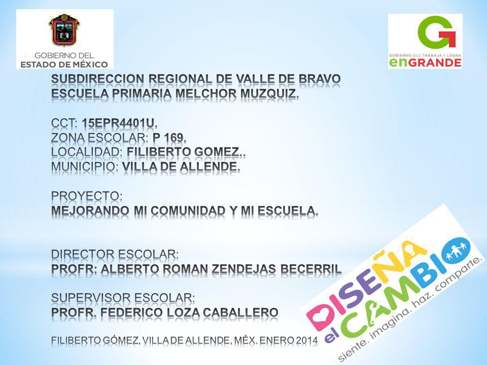 SUBDIRECCION REGIONAL DE VALLE DE BRAVO ESCUELA PRIMARIA MELCHOR MUZQUIZ.