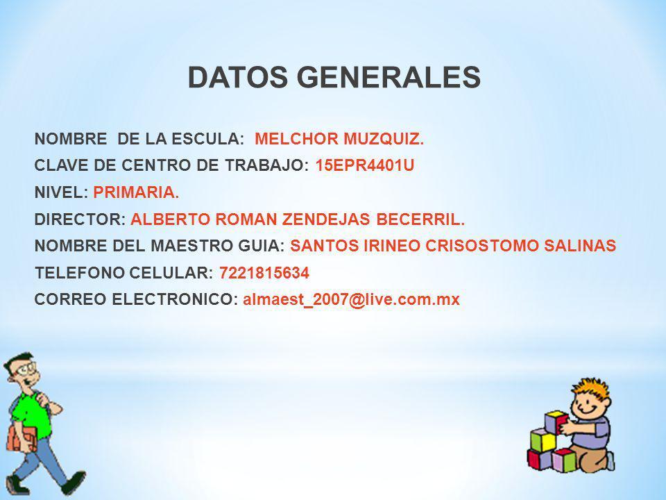 DATOS GENERALES NOMBRE DE LA ESCULA: MELCHOR MUZQUIZ.