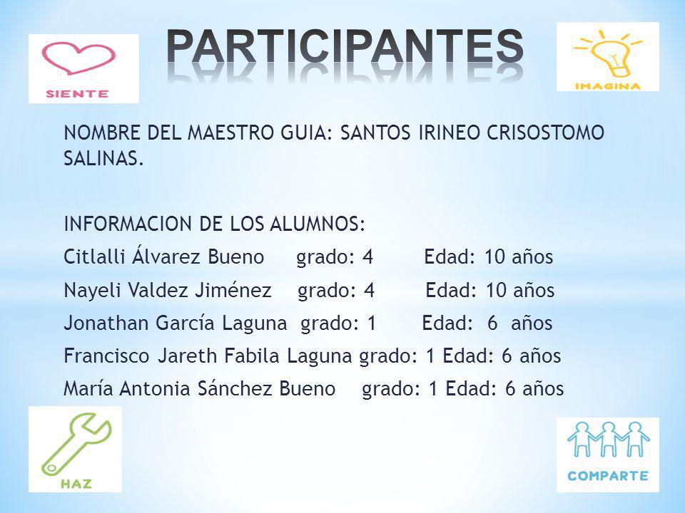 PARTICIPANTES NOMBRE DEL MAESTRO GUIA: SANTOS IRINEO CRISOSTOMO SALINAS. INFORMACION DE LOS ALUMNOS: