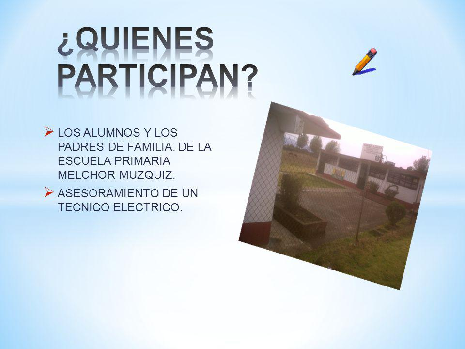 ¿QUIENES PARTICIPAN LOS ALUMNOS Y LOS PADRES DE FAMILIA. DE LA ESCUELA PRIMARIA MELCHOR MUZQUIZ.