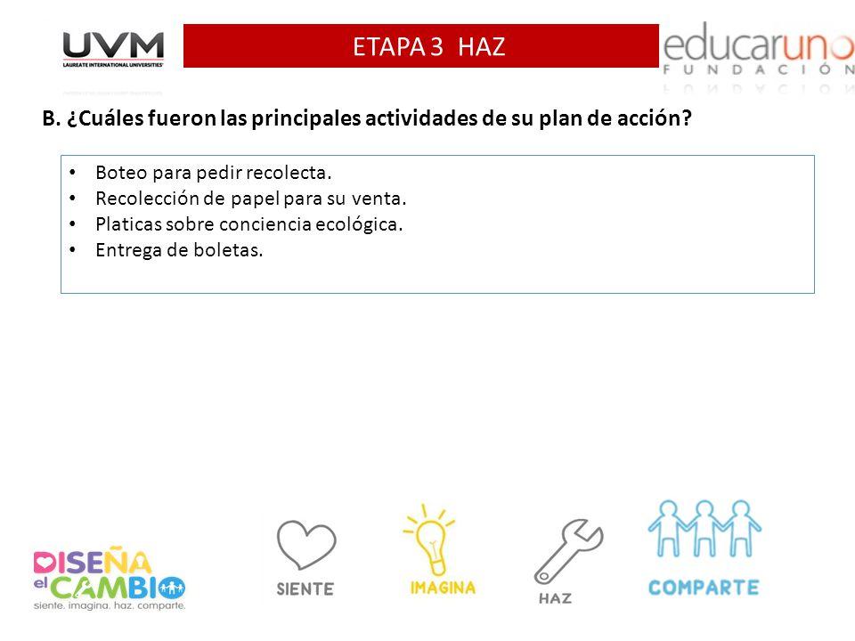ETAPA 3 HAZ B. ¿Cuáles fueron las principales actividades de su plan de acción Boteo para pedir recolecta.