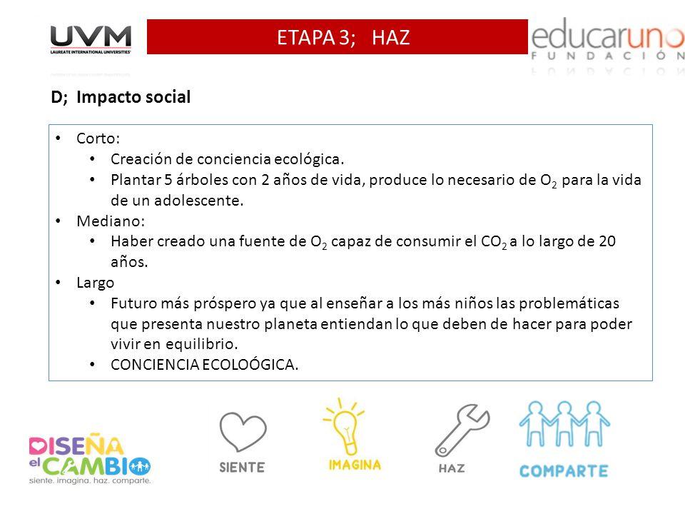 ETAPA 3; HAZ D; Impacto social Corto: