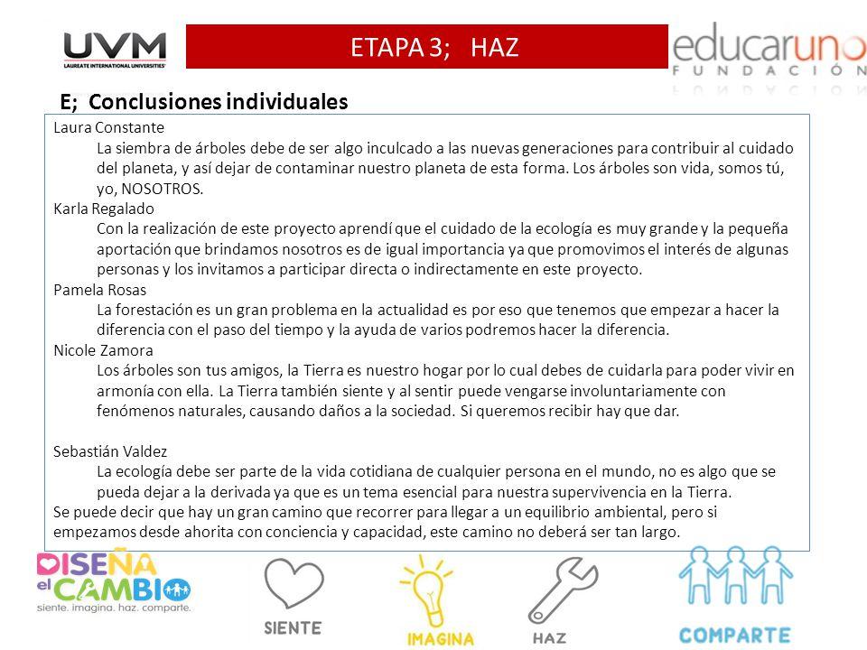 ETAPA 3; HAZ E; Conclusiones individuales Laura Constante