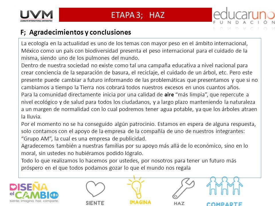 ETAPA 3; HAZ F; Agradecimientos y conclusiones