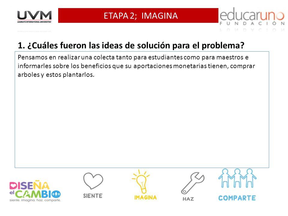 1. ¿Cuáles fueron las ideas de solución para el problema
