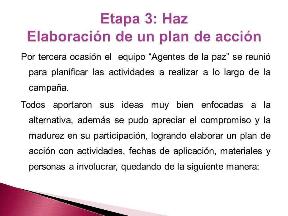 Etapa 3: Haz Elaboración de un plan de acción
